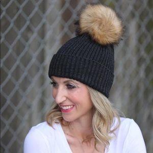 Black Knit Pom Pom Beanie Hat